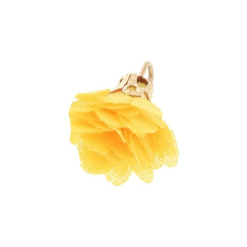 Tulle flower / with openwork tip / 18mm / Gold Plated / yellow / 4 pcs