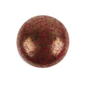Par Puca Small Cabochon 18mm Opaque Coral Red Bronze Pk1