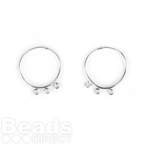 Sterling Silver 925 Earring Hoops 18mm with Rings (3x3mm) 1xPair