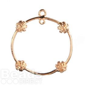 Rose Gold Plated Ring with Flowers 2 Loops at Top 23mm Pk1