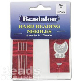 Beadalon Size 10 Beading Needles with Threader Pk6