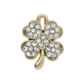 SweetCharm ™ Clover / pendant charm / 17x13x2.5mm / gold plated / with rhinestones / 1pcs
