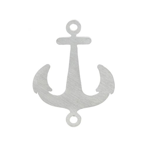 Anchor / connector / surgical steel / 22x17x1.2mm / silver / 1pcs