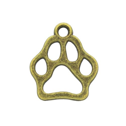Paw / charm pendant / 20x17x1.5mm / antique bronze / 4pcs