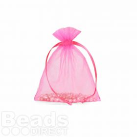 "Hot Pink Organza Bag 3""x4"" Pack 5"