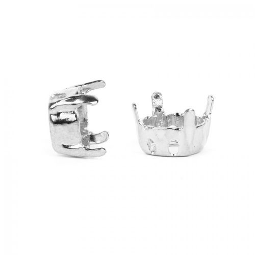 X-Silver Plated SS39 Chaton Twin Hole Square Setting Pk2