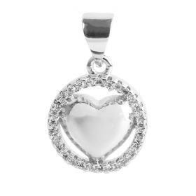 Silver Plated Puffy Heart Round in Circle Charm w/Bail Zircon Crystals 12mm Pk1