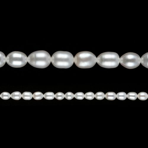 """White Freshwater Pearl Beads Rice 6-7mm 15"""" Strand"""