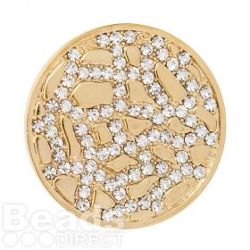 KB Gold Plated Crystal Fancy Coin Disk for Interchangeable Locket 32mm Pk1