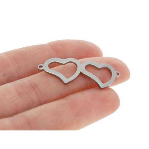 Heart / connector / surgical steel / 12x32x1mm / silver / 1pcs