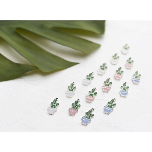 SweetCharm™ cactus / charm pendant / 24x11x2mm / gold plated / Pink / 2pcs