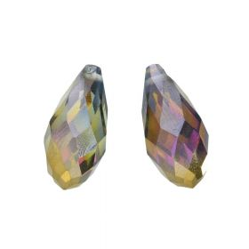CrystaLove ™ / glass crystal / drop / 10x21mm / antique gold / opalescent / 4pcs