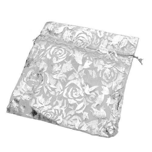 Organza bag / 10x12cm / white with silver roses / 5pcs