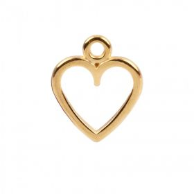 Gold Plated Zamak Hollow Heart Charm 11x12mm Pk1