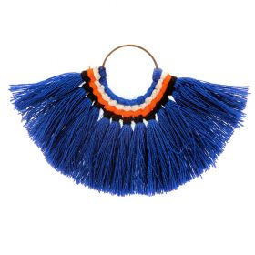 Blue Cotton Fan Tassel Charm on Hoop 59x77mm Pk1