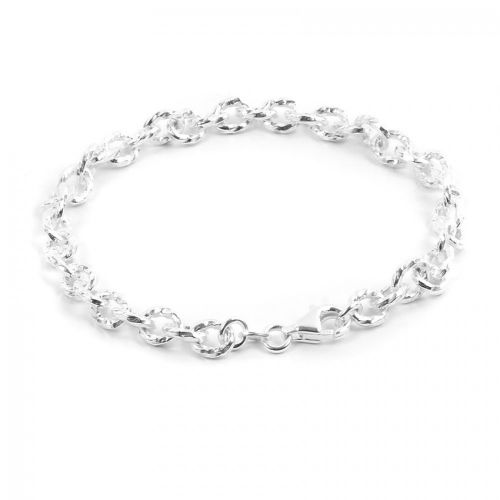 """Sterling Silver 925 Oval Cable Engraved Bracelet 5x7mm 8"""""""