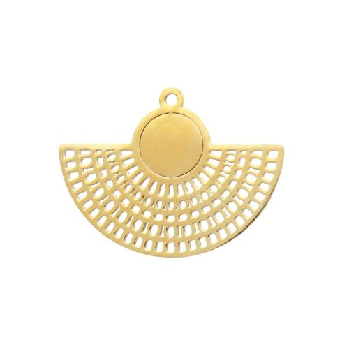 Earring base / openwork fan / surgical steel / 21x27x1mm / gold / 1pcs