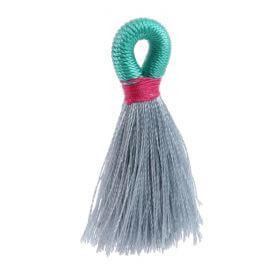 Grey/Mint/Fuchsia Loop Tassel 40mm Pk1