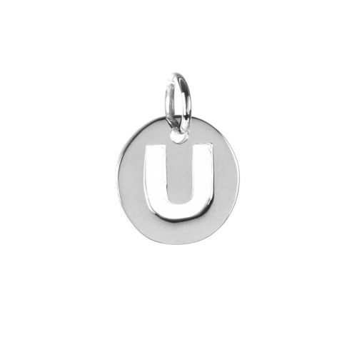Sterling Silver 925 'U' Letter Cut Out Charm 11mm Pk1