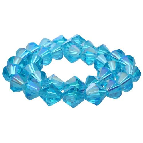 CrystaLove™ crystals / glass / bicone / 8mm / dark azure / iridescent / 40pcs