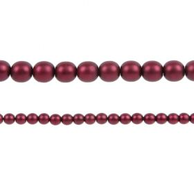 Burgundy Matte Czech Glass Round Pearl Beads 4mm Pk120