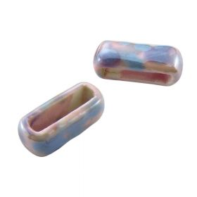 Ceramic beads / rectangle / 6x19x7mm / pink / hole 3x14mm / 2pcs