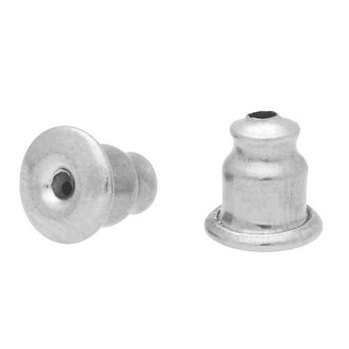 Ear nuts / silicone filled / surgical steel / 5mm / silver / 10pcs
