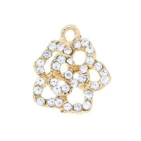 Glamm ™ Flower / charm pendant / with zircons / 16x14x3.5mm  / gold plated / 1pcs