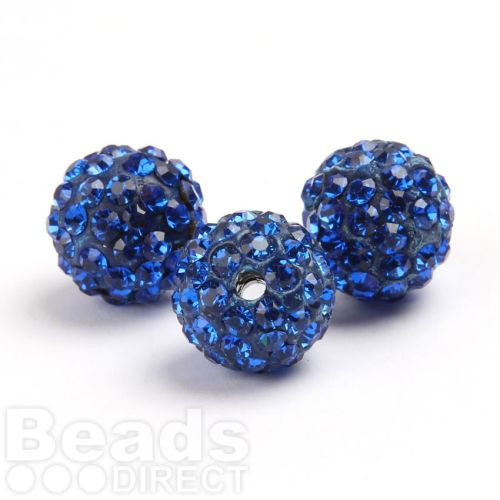 Blue Round 10mm Essential Shamballa Fashion Bead Pk3