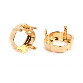 4470/S Swarovski Twin Hole Square Fancy Setting 10mm Gold Plated Pk1