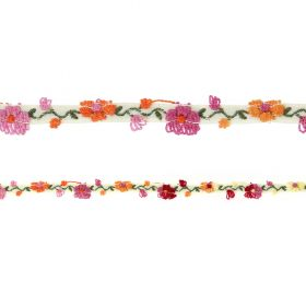 Cream Ribbon with Stitched on Pink/Red Flowers 10mm 1metre