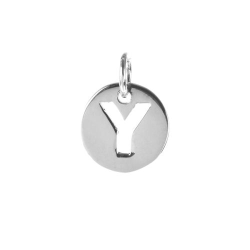 Sterling Silver 925 'Y' Letter Cut Out Charm 11mm Pk1