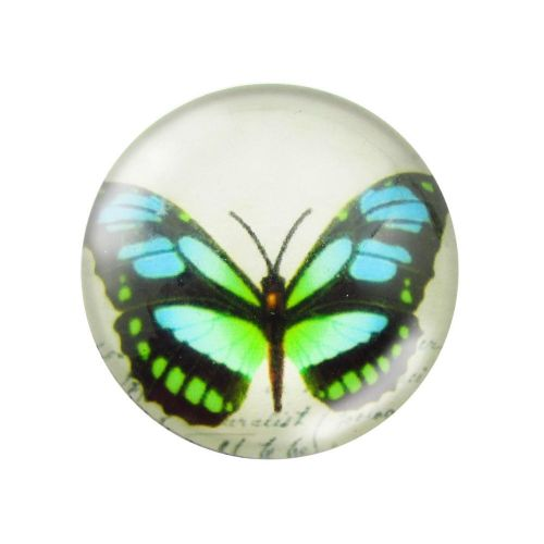 Glass cabochon with graphics 12mm PT1529 / green-blue / 4pcs