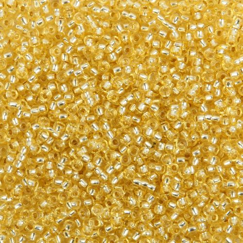 Preciosa Size 9 Rocaille Seed Beads Silver Lined Lemon 50g