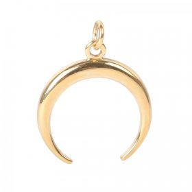 Gold Plated Sterling Silver 925 3-D Horn Charm with Ring 20mm Pk1