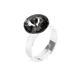 Ready To Wear Sterling Silver 925 Rivoli Ring Silver Night w/Swarovski Crystal