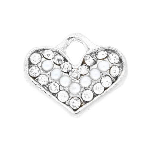Glamm ™ Heart / charm pendant / with zircons / 13.5x14.5mm / silver plated / 1 pcs