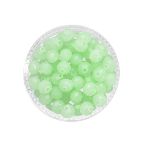 CrystaLove™ crystals / glass / rondelle / 4x6mm / milky pistachio / lustered / 86pcs