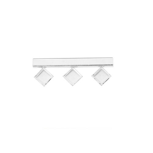 Sterling Silver 925 Tube Bead 14x40mm Holds x3 Square Crystals (2400 6mm) Pk1