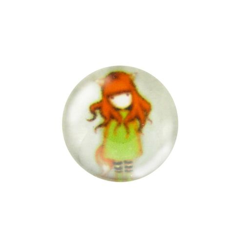 Glass cabochon with graphics 14mm PT1508 / green / 4pcs