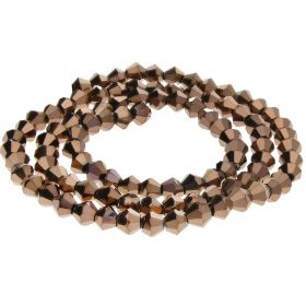 CrystaLove™ crystals / glass / bicone / 2mm / dark brown / lustered / 198pcs