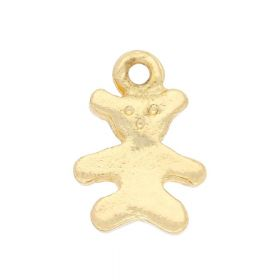 Teddy bear / charm pendant / 13x10x2mm / gold plated / 4pcs