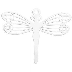 Dragonfly / hanging filigree / surgical steel / 24x28mm / silver / 1pcs