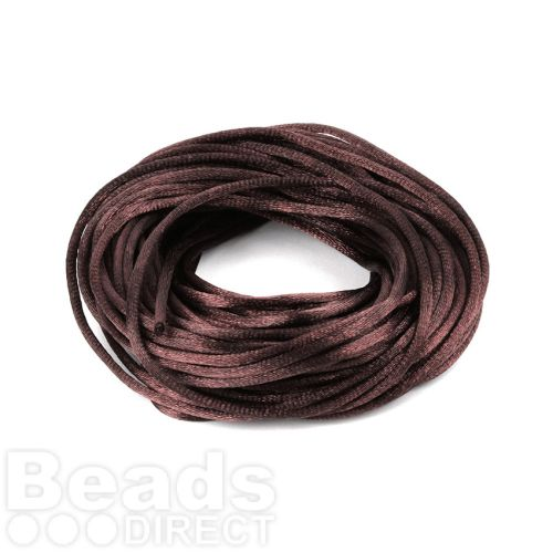 Brown 2mm Rattail Satin Cord 10metres