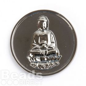 KB Rhodium Plated Sitting Buddha Coin Disk for Interchangeable Locket 32mm Pk1
