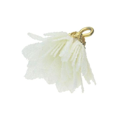 Tulle flower / with openwork tip / 18mm / Gold Plated / cream / 4 pcs