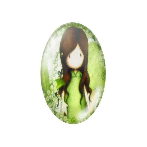 Glass cabochon with graphics oval 13x18mm PT1490 / green / 2pcs