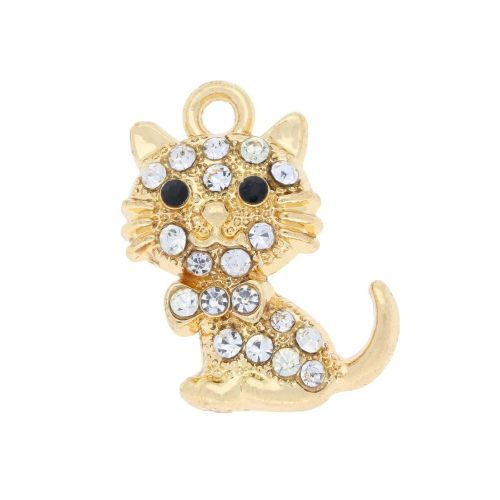 Glamm ™ Cat / charm pendant / with zircons / 20.5x16x4.5mm / gold plated / white / 1pcs
