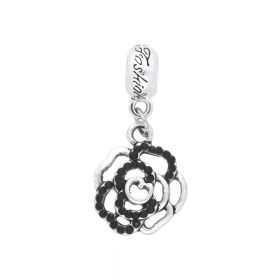 Glamm ™ Rose / charm pendant / with zircons / 32x15x3mm / silver plated / black / 1pcs