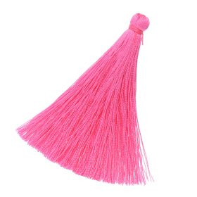 Tassel / viscose thread / 65mm / width 7mm / pink / 1pcs